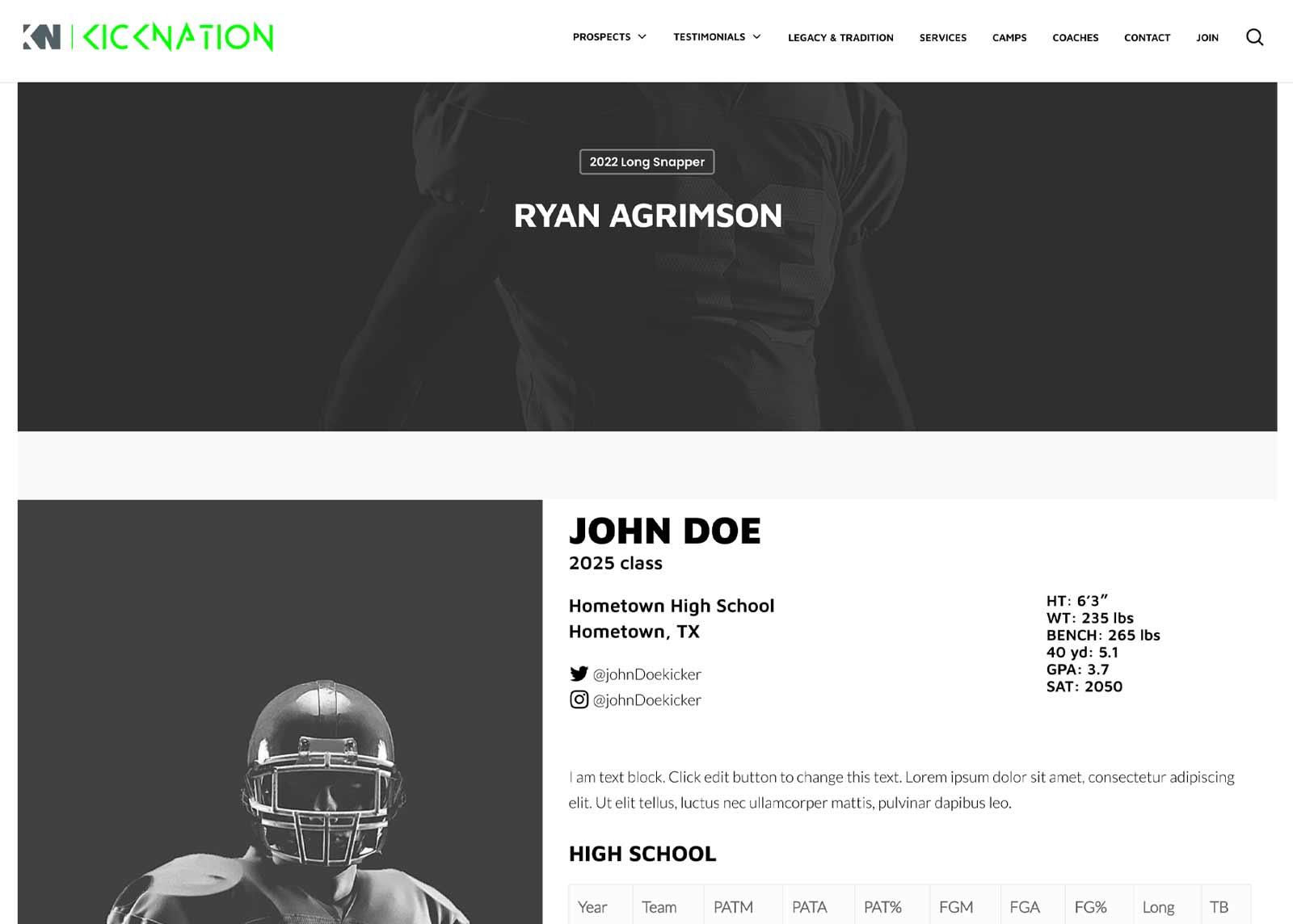Create Athlete Profile